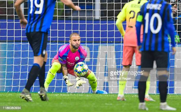 Kyle Walker of Manchester City makes a save whilst in goal during the UEFA Champions League group C match between Atalanta and Manchester City at...