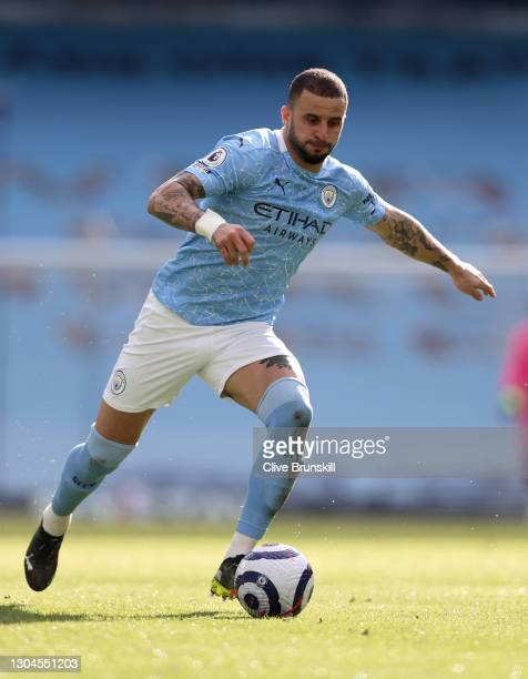 Kyle Walker of Manchester City on the ball during the Premier League match between Manchester City and West Ham United at Etihad Stadium on February...