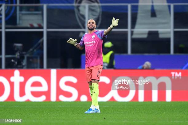 Kyle Walker of Manchester City plays as goalkeeper during the UEFA Champions League group stage match between Atalanta and Manchester City at Stadio...