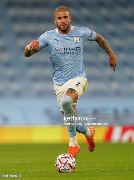 Kyle Walker of Manchester City runs with the ball during the UEFA Champions League Group C stage match between Manchester City and FC Porto at Etihad...