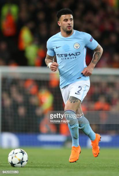 Kyle Walker of Manchester City runs with the ball during the UEFA Champions League Quarter Final Leg One match between Liverpool and Manchester City...