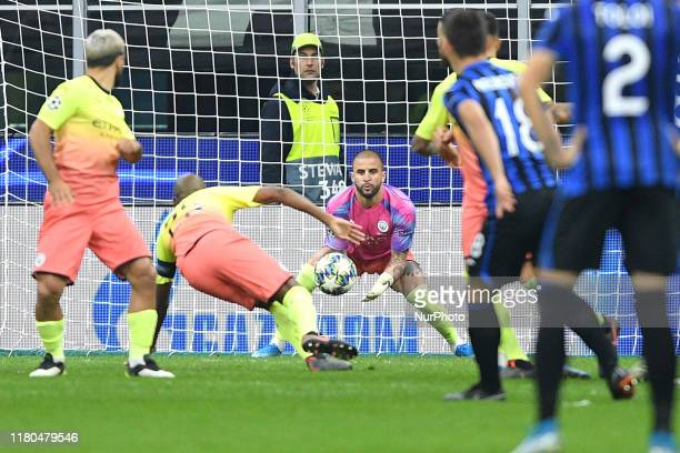 Kyle Walker of Manchester City saves on Josip Ilicic of Atalanta BC as he plays as goalkeeper during the UEFA Champions League group stage match...