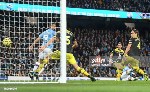 Kyle Walker of Manchester City scores his team's second goal during the Premier League match between Manchester City and Southampton FC at Etihad...