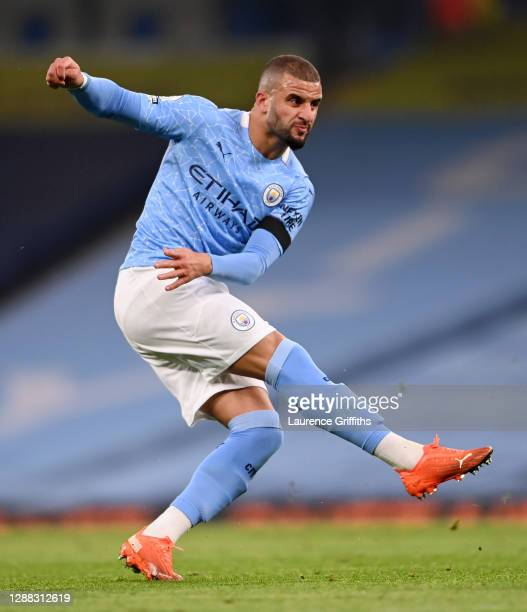 Kyle Walker of Manchester City shoots during the Premier League match between Manchester City and Burnley at Etihad Stadium on November 28 2020 in...