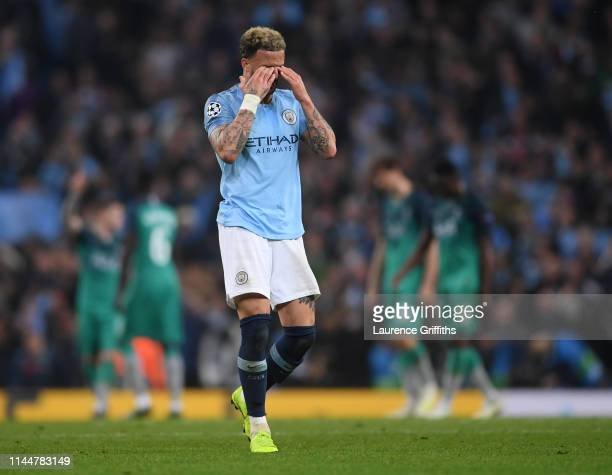 Kyle Walker of Manchester City shows his disappointment during the UEFA Champions League Quarter Final second leg match between Manchester City and...