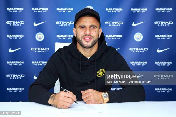 Kyle Walker of Manchester City signs a contract extension at Manchester City Football Academy on June 19 2019 in Manchester England