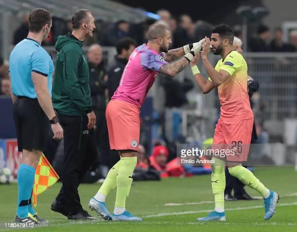 Kyle Walker of Manchester City subtitures as a goalkeeper his teammate Riyad Mahrez during the UEFA Champions League group C match between Atalanta...