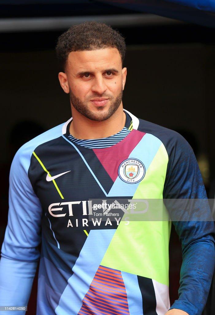separation shoes 393f9 9c6e8 Kyle Walker of Manchester City walks onto the pitch to warm ...