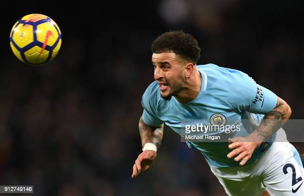 Kyle Walker of Manchester City wins a header during the Premier League match between Manchester City and West Bromwich Albion at Etihad Stadium on...
