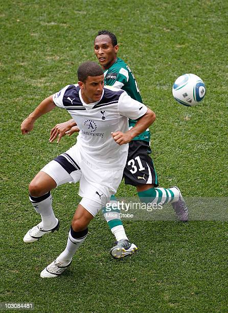 Kyle Walker of Tottenham Hotspur and Liedson of Sporting Lisbon battle for the ball on July 25, 2010 at Red Bulls Arena in Harrison, New Jersey.