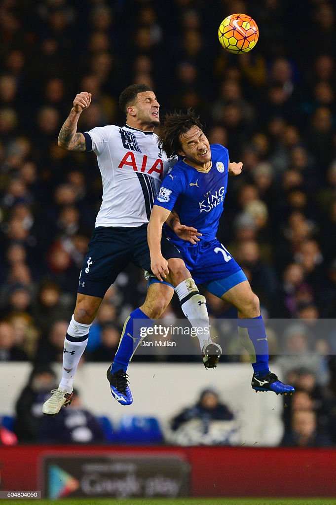 Kyle Walker of Tottenham Hotspur and Shinji Okazaki of Leicester City compete for the ball during the Barclays Premier League match between Tottenham Hotspur and Leicester City at White Hart Lane on January 13, 2016 in London, England.