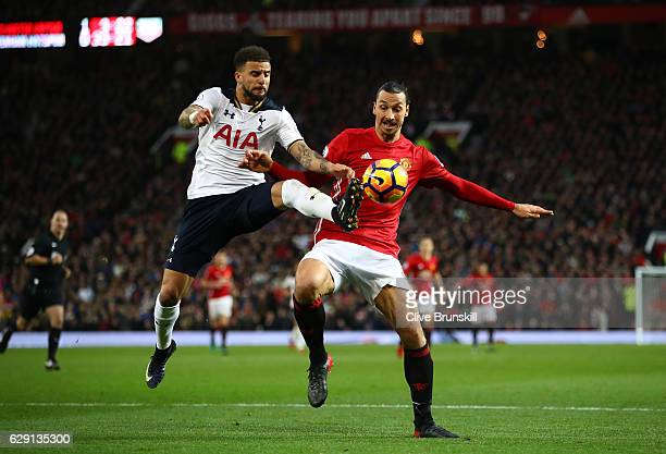 Kyle Walker of Tottenham Hotspur and Zlatan Ibrahimovic of Manchester United compete for the ball during the Premier League match between Manchester...