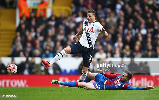 Kyle Walker of Tottenham Hotspur is challenged by Jordon Mutch of Crystal Palace during the Emirates FA Cup Fifth Round match between Tottenham...