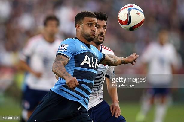 Kyle Walker of Tottenham Hotspur looks to control the ball against David Villa of MLS AllStars 2015 ATT Major League Soccer AllStar game at Dick's...