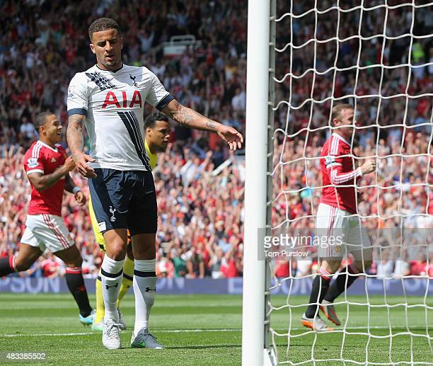 Kyle Walker of Tottenham Hotspur reacts to scoring an owngoal during the Barclays Premier League match between Manchester United and Tottenham...