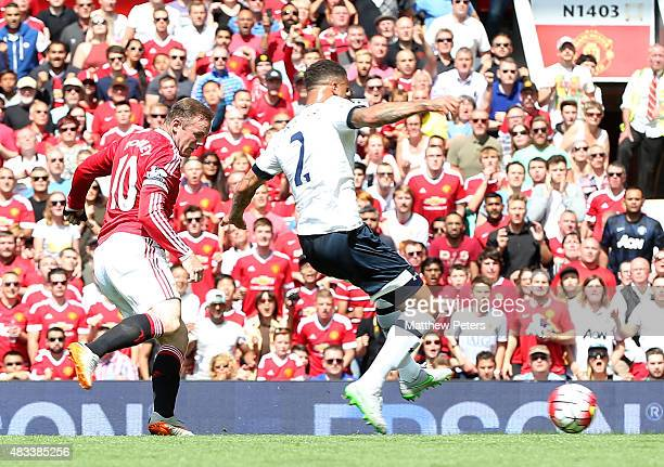 Kyle Walker of Tottenham Hotspur scores an owngoal during the Barclays Premier League match between Manchester United and Tottenham Hotspur at Old...