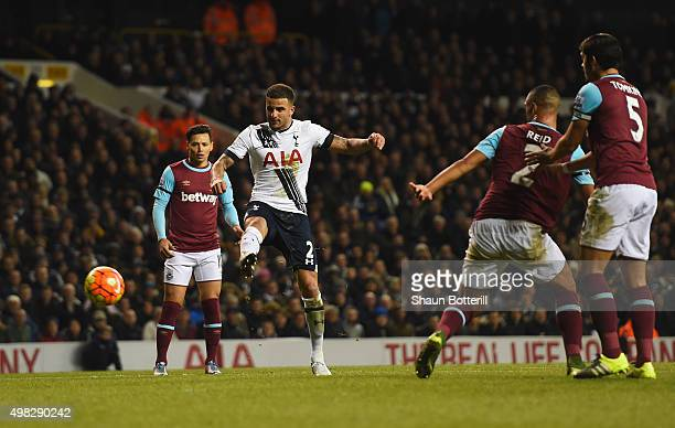 Kyle Walker of Tottenham Hotspur scores his teams fourth goal during the Barclays Premier League match between Tottenham Hotspur and West Ham United...
