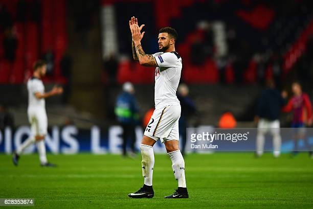 Kyle Walker of Tottenham Hotspur shows appreciation to the fans after the final whistle during the UEFA Champions League Group E match between...