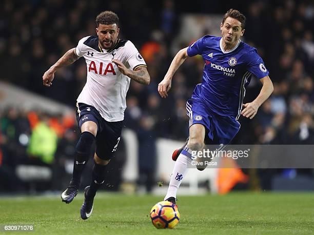 Kyle Walker of Tottenham Hotspur takes the ball past Nemanja Matic of Chelsea during the Premier League match between Tottenham Hotspur and Chelsea...