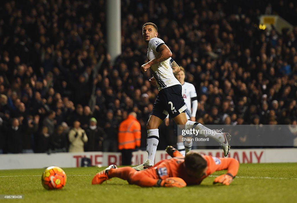 Kyle Walker of Tottenham Hotspur turns away after scoring his teams fourth goal during the Barclays Premier League match between Tottenham Hotspur and West Ham United at White Hart Lane on November 22, 2015 in London, England.