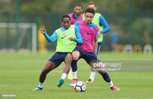 Kyle WalkerPeters and Anthony Georgiou of Tottenham during a Tottenham Hotspur training session at Tottenham Hotspur Training Centre on August 22...
