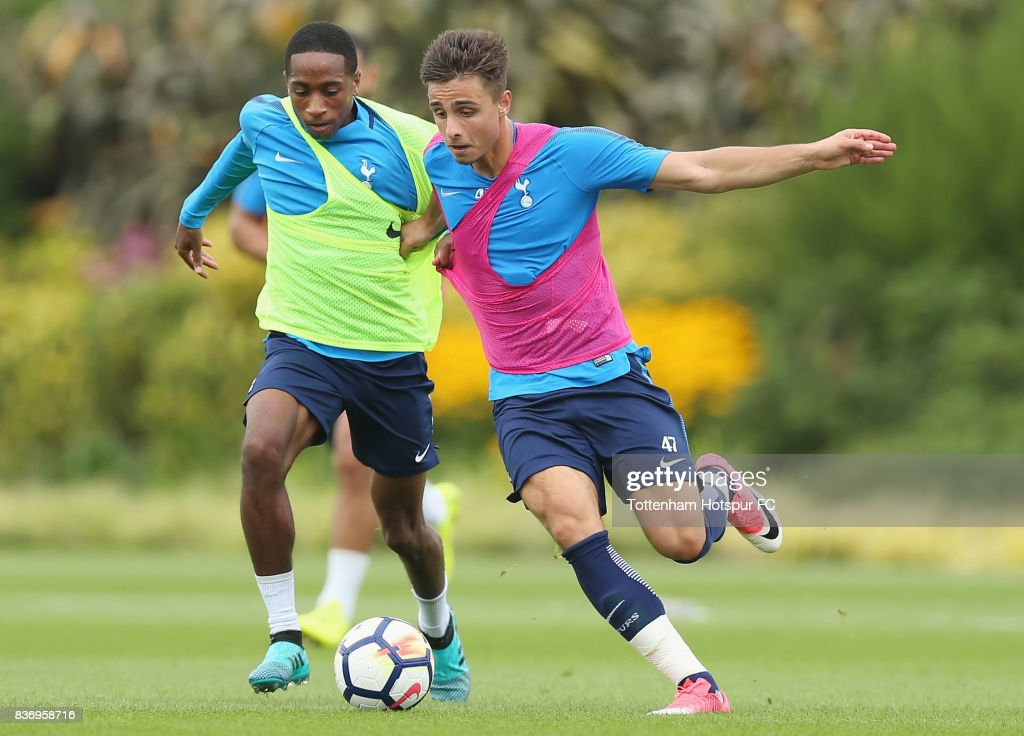 Kyle Walker-Peters and Anthony Georgiou of Tottenham during a Tottenham Hotspur training session at Tottenham Hotspur Training Centre on August 22, 2017 in Enfield, England.