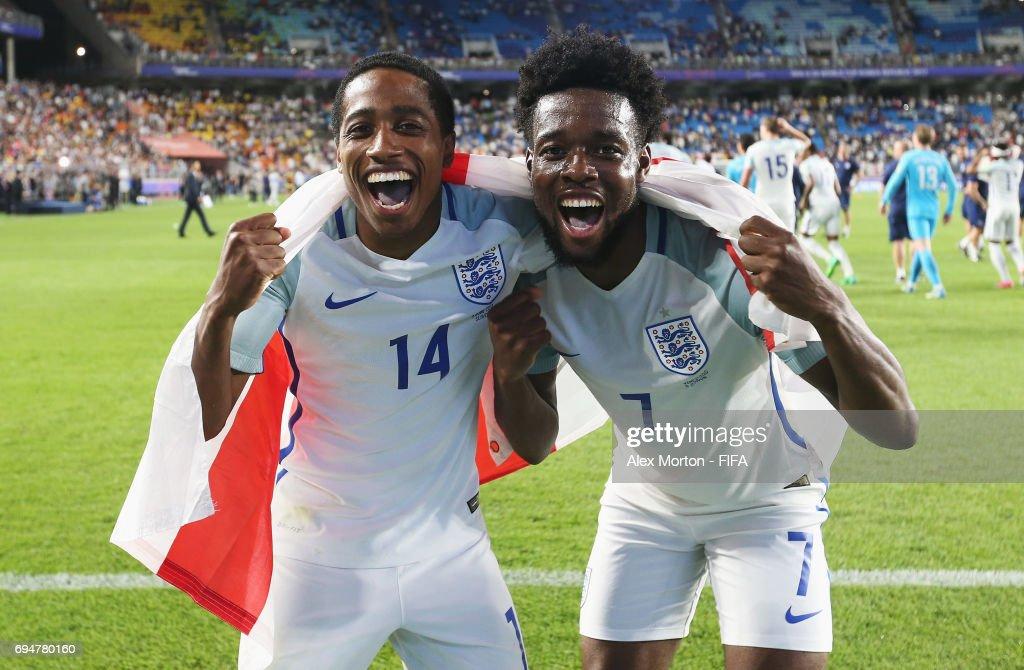 Kyle Walker-Peters (14) and Josh Onomah of England (7) celebrate victoryafter the FIFA U-20 World Cup Korea Republic 2017 Final between Venezuela and England at Suwon World Cup Stadium on June 11, 2017 in Suwon, South Korea. England defeated Venezuela 1-0.