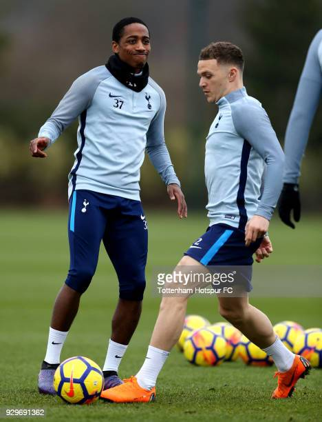 Kyle WalkerPeters and Kieran Trippier of Tottenham Hotspur during training on March 9 2018 in Enfield England