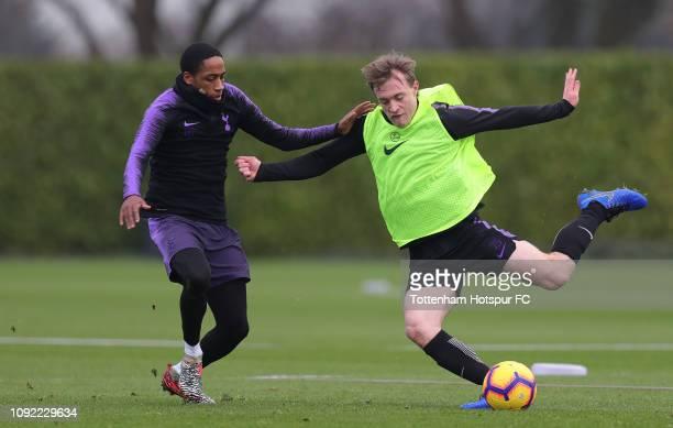 Kyle Walker-Peters and Oliver Skipp of Tottenham Hotspur during the Tottenham Hotspur training session at Tottenham Hotspur Training Centre on...