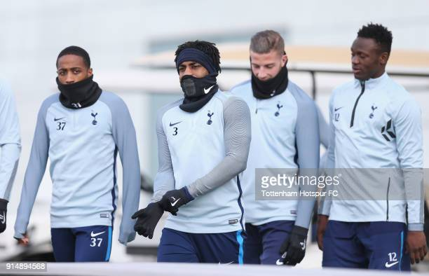 Kyle WalkerPeters Danny Rose Toby Alderweireld and Victor Wanyama of Tottenham Hotspur during the Tottenham Hotspur training session at Tottenham...