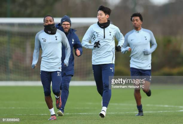 Kyle WalkerPeters HeungMin Son and Tashan Oakley Boothe of Tottenham Hotspur during the Tottenham Hotspur training session at Tottenham Hotspur...