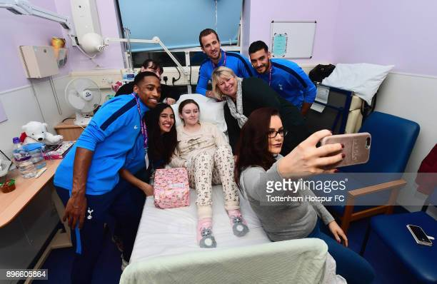 Kyle WalkerPeters Maya Vio Harry Kane and Paulo Gazzaniga pose for a selfie photograph as they meet patients during a Tottenham Hotspur player visit...