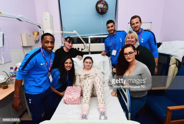 Kyle WalkerPeters Maya Vio Paulo Gazzaniga and Harry Kane meet patients during a Tottenham Hotspur player visit at Whipps Cross Hospital on December...
