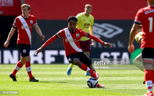 Kyle Walker-Peters of during the Premier League match between Southampton and Burnley at St Mary's Stadium on April 04, 2021 in Southampton, England....