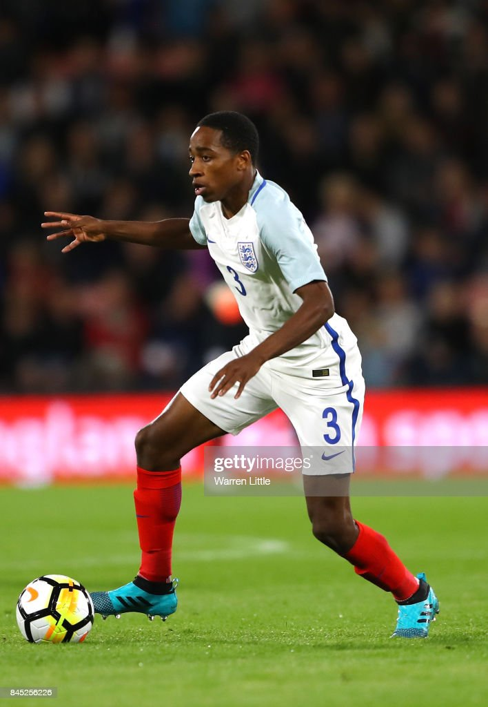 Kyle Walker-Peters of England in action during the UEFA Under 21 Championship Qualifiers between England and Latvia at the Vitality Stadium on September 5, 2017 in Bournemouth, England.