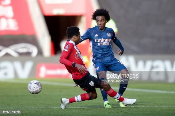 Kyle Walker-Peters of Southampton closes down Willian of Arsenal during Southampton v Arsenal, The Emirates FA Cup Fourth Round, on January 23, 2021...