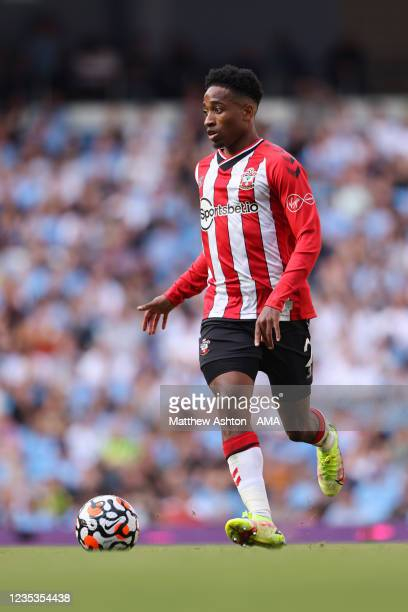 Kyle Walker-Peters of Southampton during the Premier League match between Manchester City and Southampton at Etihad Stadium on September 18, 2021 in...