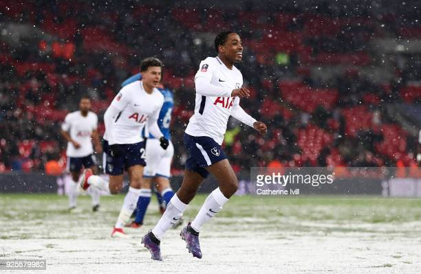 Kyle WalkerPeters of Tottenham celebrates after scoring his team's sixth goal during The Emirates FA Cup Fifth Round Replay match between Tottenham...