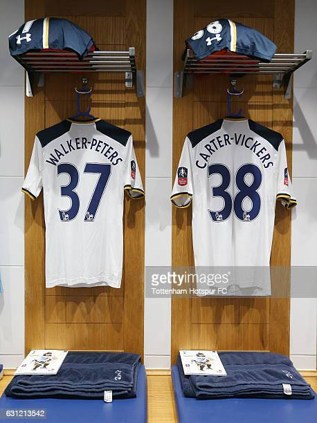 Kyle WalkerPeters of Tottenham Hotspur and Cameron CarterVickers of Tottenham Hotspur shirts hang in the changing room prior to The Emirates FA Cup...