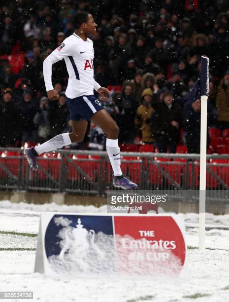 Kyle WalkerPeters of Tottenham Hotspur celebrates during The Emirates FA Cup Fifth Round Replay between Tottenham Hotspur and Rochdale on February 28...