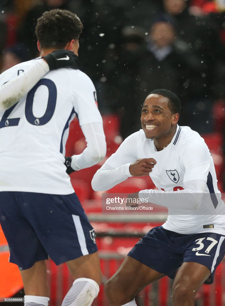 Kyle Walker-Peters of Tottenham Hotspur celebrates his goal with Dele Alli during the Emirates FA Cup Fifth Round Replay match between Tottenham Hotspur and Rochdale at Wembley Stadium on February 28, 2018 in London, United Kingdom.