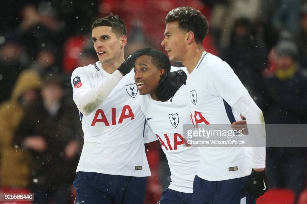 Kyle WalkerPeters of Tottenham Hotspur celebrates his goal with Erik Lamela and Dele Alli during the Emirates FA Cup Fifth Round Replay match between...