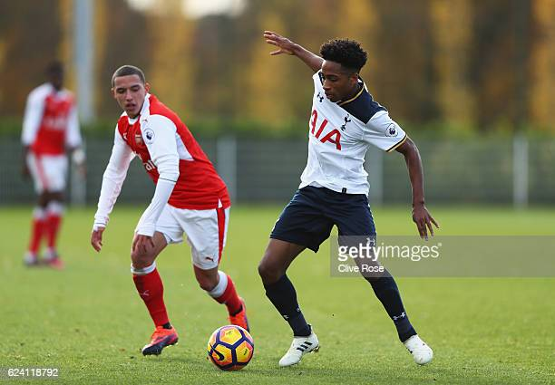 Kyle WalkerPeters of Tottenham Hotspur is challenged by Ismael Bennacer of Arsenal during the Premier League 2 match between Tottenham Hotspur and...