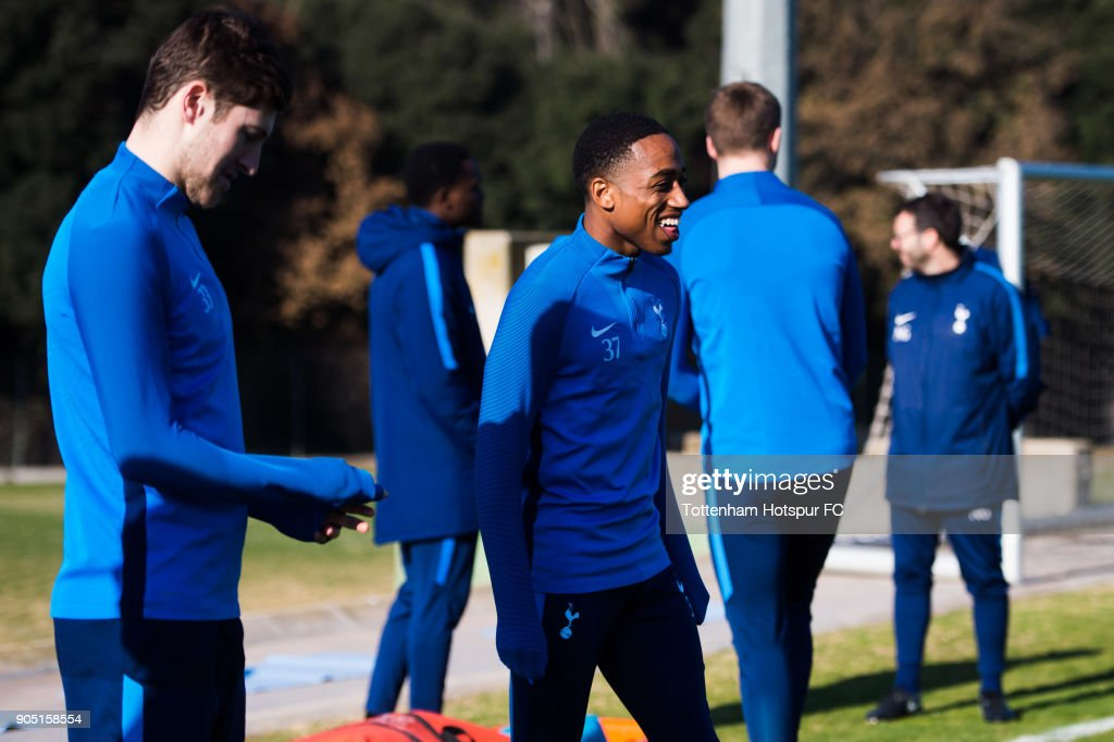 Kyle Walker-Peters of Tottenham Hotspur laughs during a training session during day one of the Tottenham Hotspur mid-season training camp at High Performance Sports Centre of Catalonia on January 15, 2018 in Barcelona, Spain.
