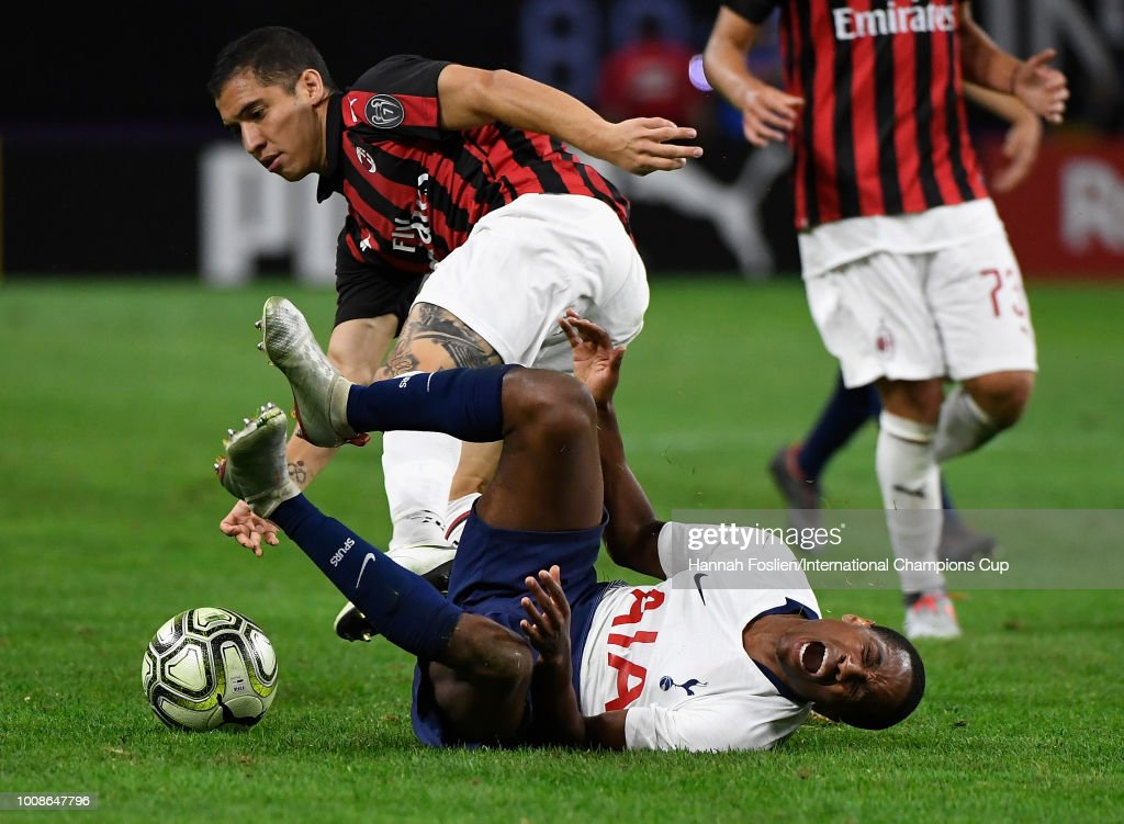 Kyle Walker-Peters #37 of Tottenham Hotspur reacts after being fouled by Jose Mauri #4 of AC Milan in the second half during the International Champions Cup 2018 at U.S. Bank Stadium on July 31, 2018 in Minneapolis, Minnesota.