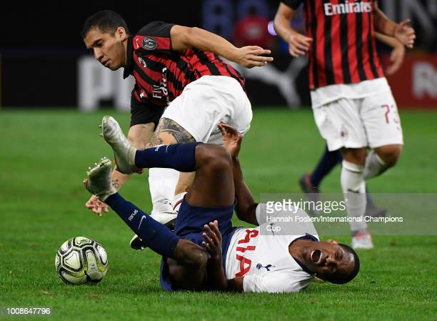 Kyle WalkerPeters of Tottenham Hotspur reacts after being fouled by Jose Mauri of AC Milan in the second half during the International Champions Cup...
