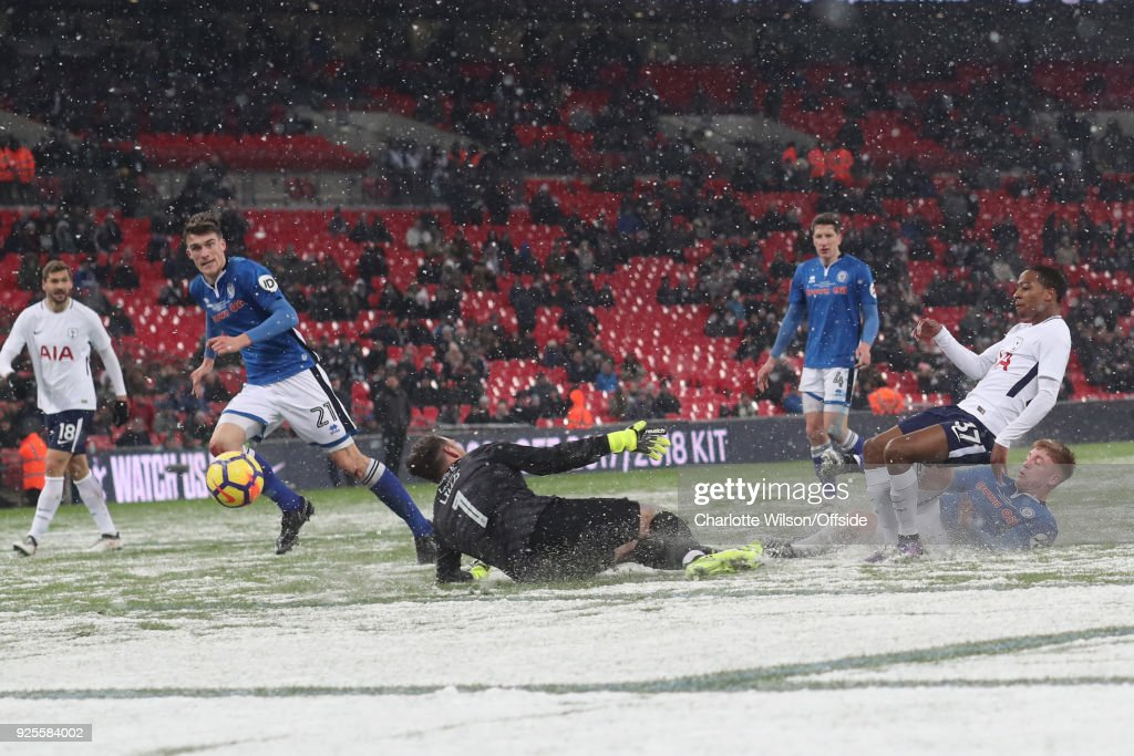 Kyle Walker-Peters of Tottenham Hotspur scores their 6th goal during the Emirates FA Cup Fifth Round Replay match between Tottenham Hotspur and Rochdale at Wembley Stadium on February 28, 2018 in London, United Kingdom.