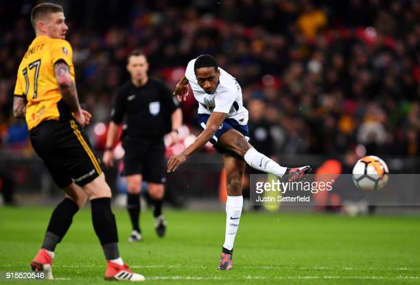 Kyle WalkerPeters of Tottenham Hotspur shoots during The Emirates FA Cup Fourth Round Replay between Tottenham Hotspur and Newport County at Wembley...
