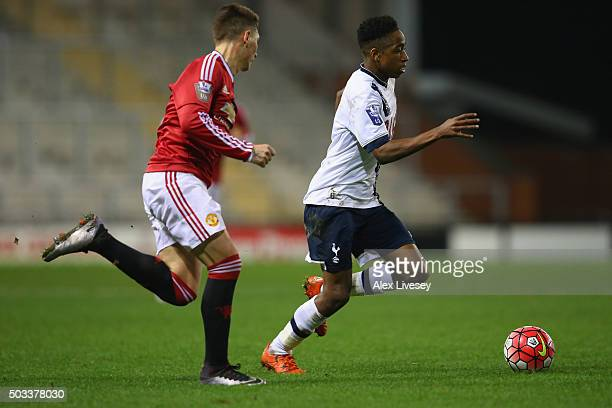 Kyle WalkerPeters of Tottenham Hotspur U21 takes on Guillermo Varela of Manchester United U21 during the Barclays U21 Premier League match between...