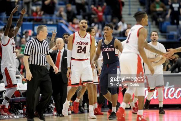 Kyle Washington of the Cincinnati Bearcats celebrates victory with his teammates during the UConn Huskies Vs Cincinnati Bearcats, American Athletic...